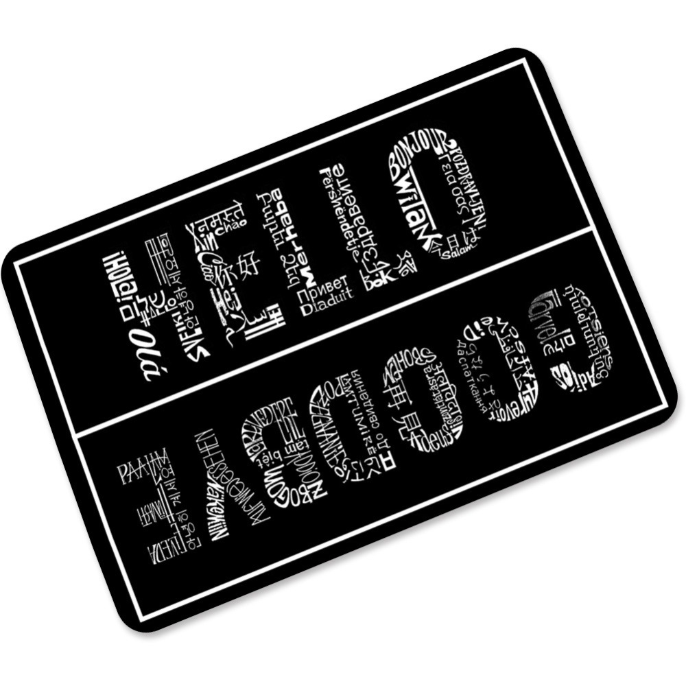 Rubber floor mats bathroom - Mdct Hello Goodbye Printed Black White Entrance Welcome Mats Rugs Thick 3mm Rubber Floor Mats For