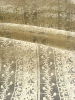 cream cotton embroidered lace fabric with lace strips, embroidered tulle lace fabric, mesh lace fabric 10 yards