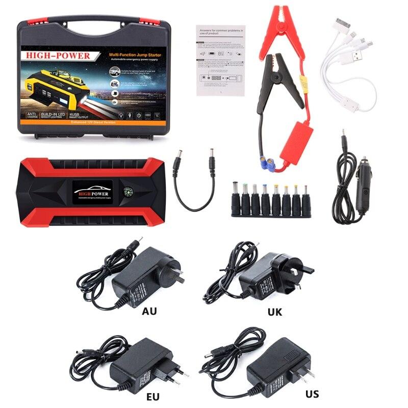 Nouveau 1 Set 89800 mAh 4 USB Portable multi-fonction Auto saut de voiture Pack de démarrage Booster chargeur batterie externe étanche