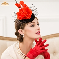 Lady New Fashion Fedoras Cap Women New Flowers Headwear Girls Red Flowers Are Small Gauze Hat