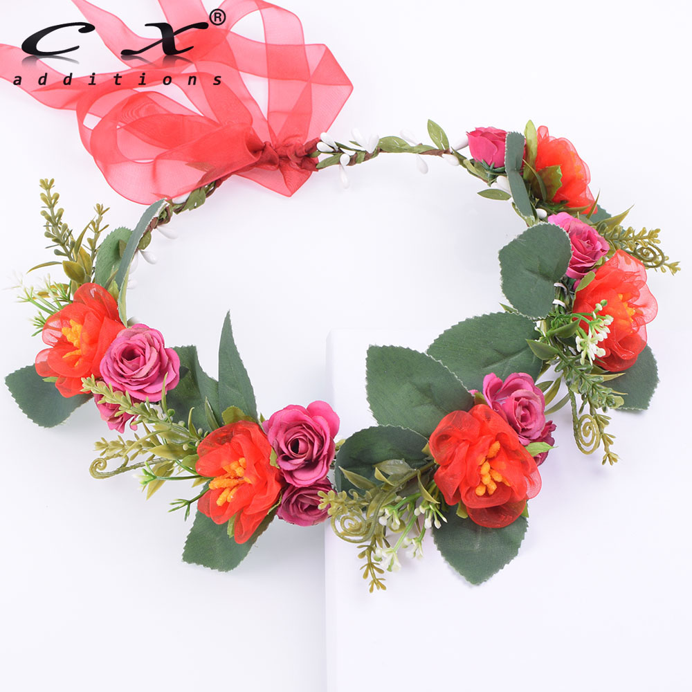 Aliexpress Buy Rustic Adjustable Red Lace Rose Flower Crown