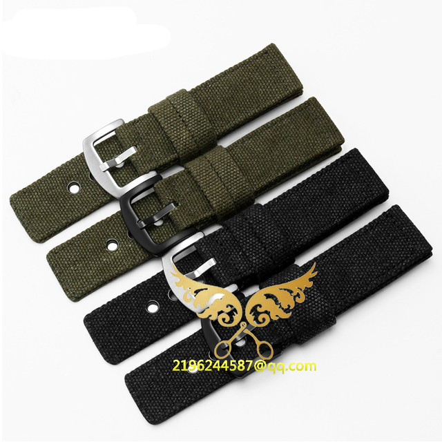 Frete grátis Novo Relógio de Pulso Militar Do Exército Nylon Tecido Canva Cinta banda 20mm 22mm Preto com fivela De Prata relógio de nylon cintas
