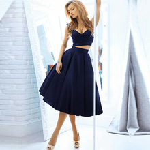 Two Piece Homecoming Dress 2016 Navy Blue Party Gown Vestido De Formatura Curto Short Graduation Dresses Prom Gown H12