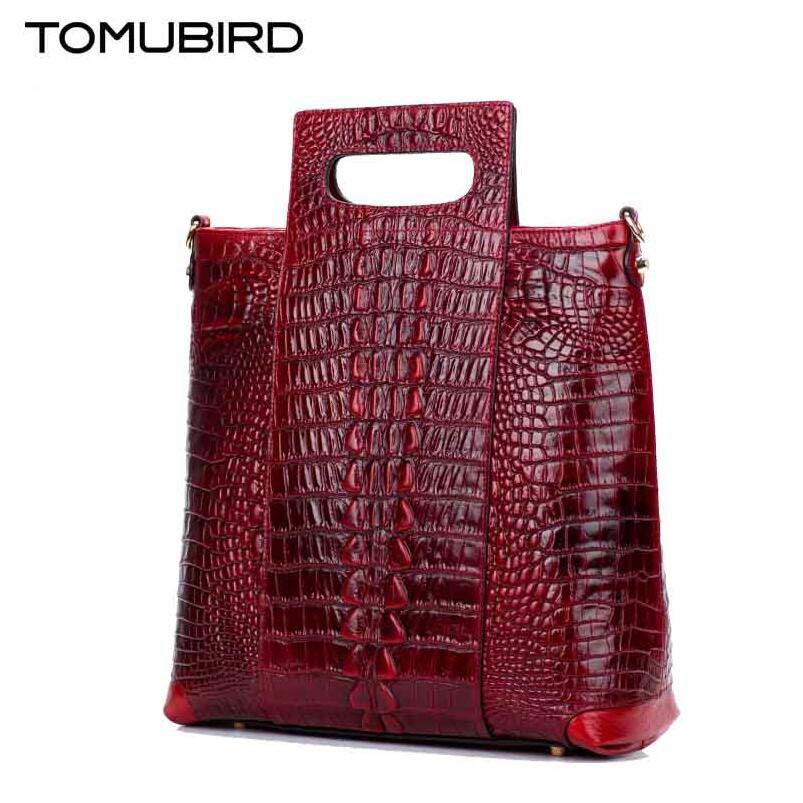 TOMUBIRD new superior genuine leather brand women bags  Embossed Crocodile  Designer Handbags Leather  Luxury handbags