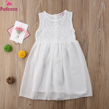 Summer Kids Little Girls Floral Princess Dress Lace Baby Girl Sleeveless Tulle White Dresses Sundress 2 to 11 Year цена 2017
