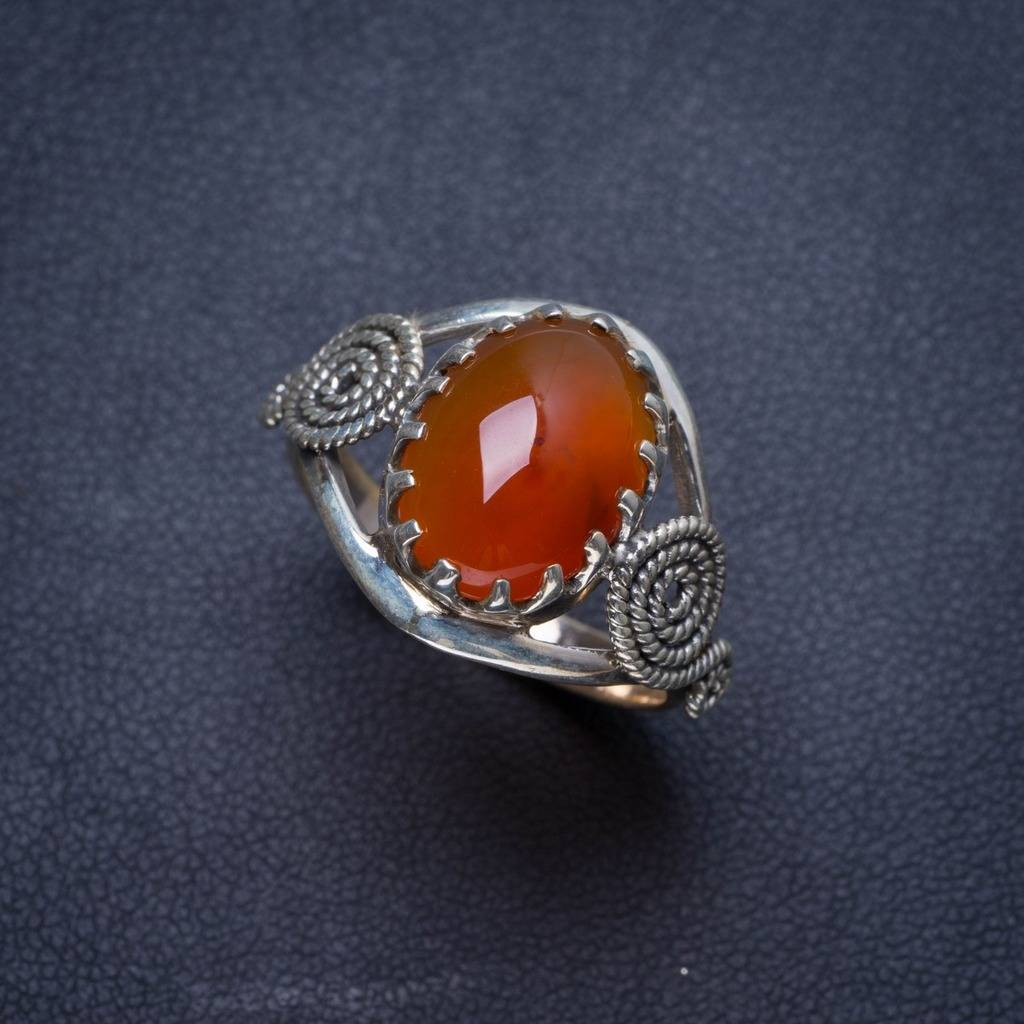 цена Natural Carnelian Handmade Unique 925 Sterling Silver Ring 8.25 Y4010
