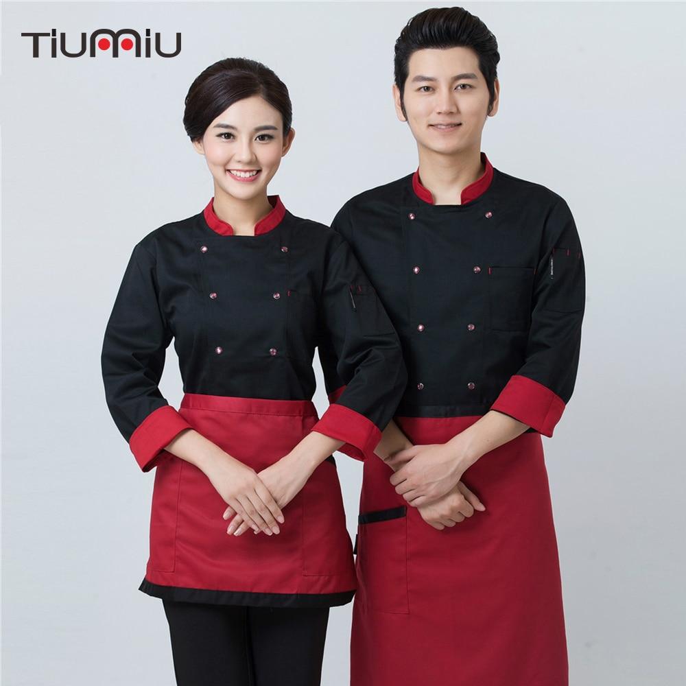 2018 Chef Keuken Werk Uniform Catering Restaurant Baker Cafe Ober Kapper Overalls Outfit Cozinha Lange Mouwen Koken Jas Kleuren Zijn Opvallend