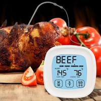 2 Probes Touchscreen Oven Meat Thermometer Timer Grill Kitchen Cooking BBQ Food Thermometer