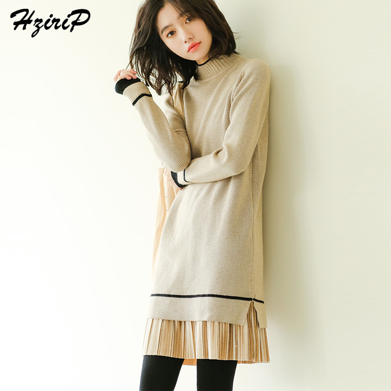 HziriP Sweet Winter Christmas Dress Female 2017 Fake Two Pieces Patchwork Knitted Dresses For Women Long Sleeve Autumn Hot Sale skullies gfs hot sale female tide leather braids knitted cap autumn and winter women s curling ear warmers headgear 1866784