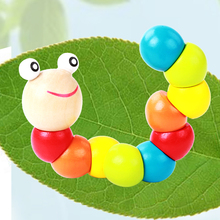Baby toys 2016 New Variety Twist colored Insects Wooden Toys Educational kid brinquedo madeira educative hand