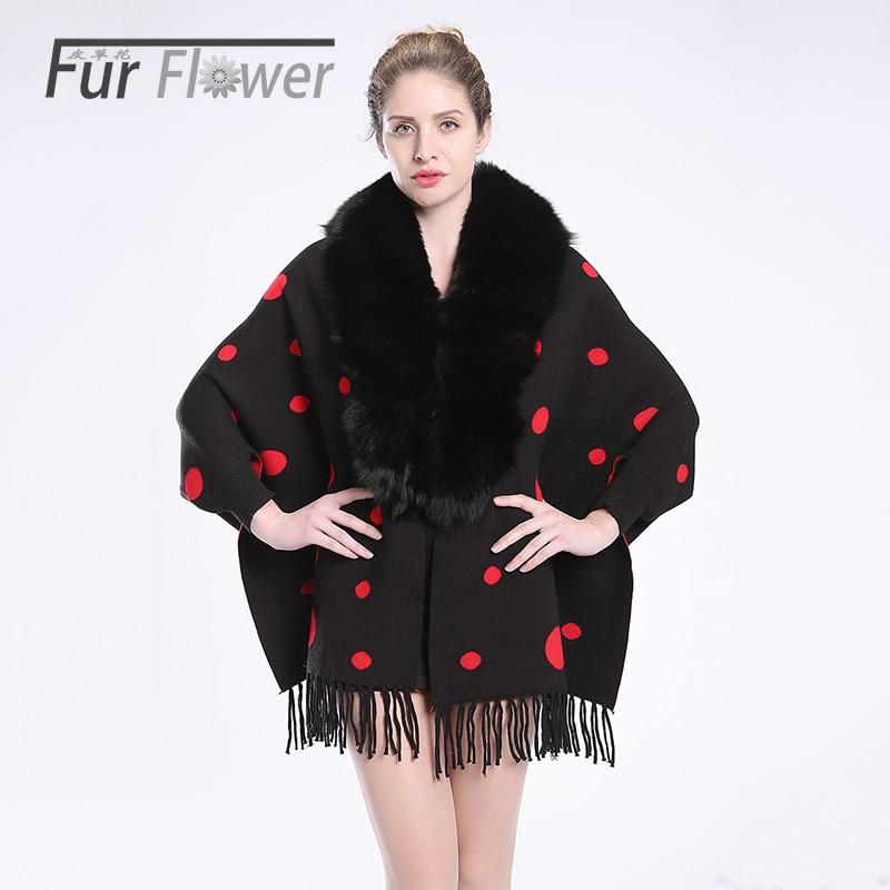 Autumn winter women lady Maternity whole FOX fur collar shawl genuine fur bat coat cape shawl coat jacket overcoat clothes