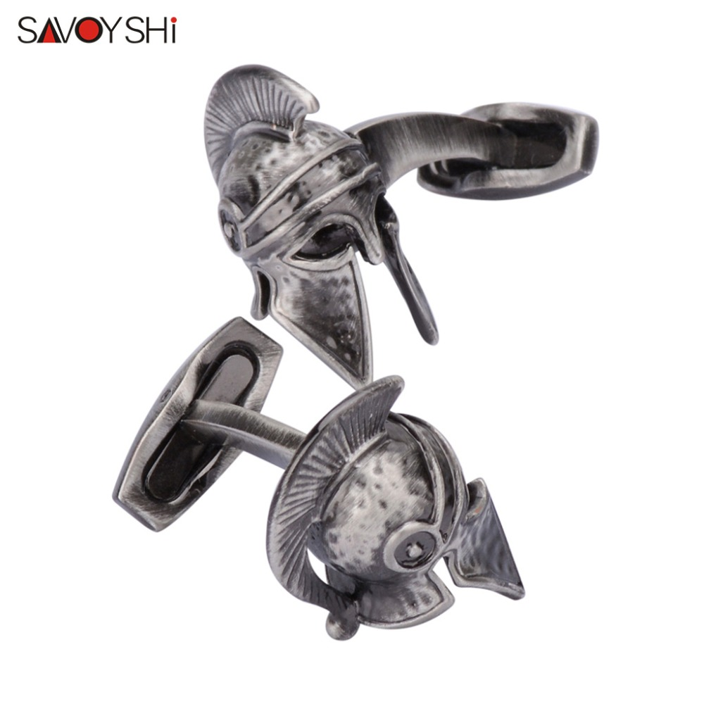 SAVOYSHI Retro war helmet Cufflinks for Mens Shirt Cuff nails Ancient silver Ghosts Skeleton Cufflinks High Quality Men Jewelry free shipping high quality men s shirt cufflinks plane anchor bike car motorcycle transportation automobile cufflinks