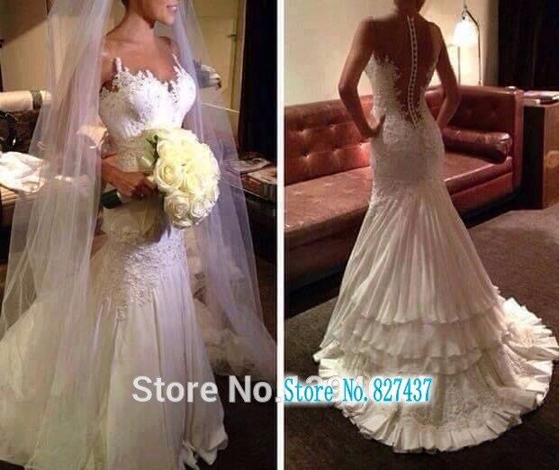 2019 Illussion bijou col en V appliqué perlé transparent dos à plusieurs niveaux sirène robes de mariée robes de mariée