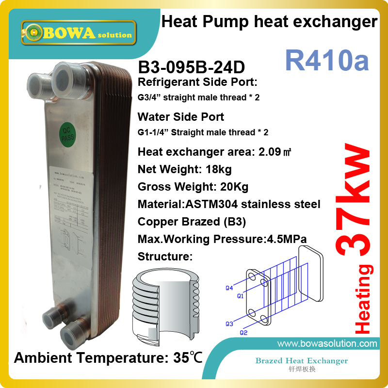 37kw heating capacity R410a to water 45bar stainless steel plate heat exchanger installed in geothermal heat pump equipments 19kw r410a to water and 4 5mpa stainless steel plate heat exchanger are used water heater in commerce heat pump equipments