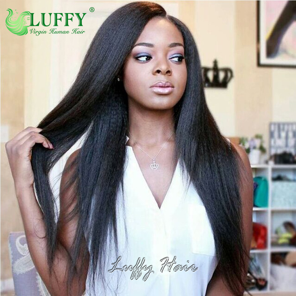 Light Yaki Wig Brazilian Virgin Hair Italian Yaki Straight