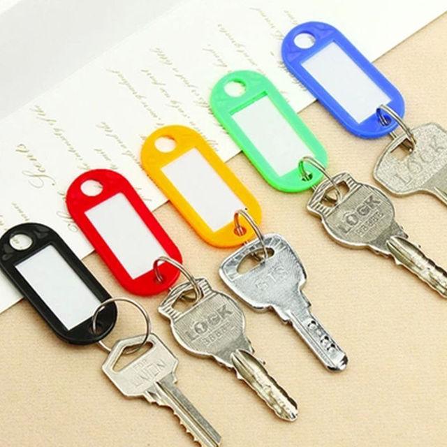 10 PCS Plastic Custom Split Ring ID Key Tags Labels Key Chains Key Rings Numbered Name Baggage Luggage Tags 4