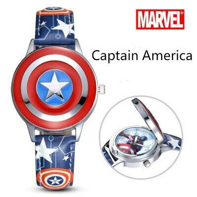 "Marvel Comics Captain America  ""Marvel's The Avengers"" cartoon boy child student flip Captain America shield electronic watch"