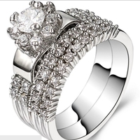 Size 5 11 Rhodium Plated Wedding Ring Engagement Princess Halo Valentine Anniversary Sterling Silver