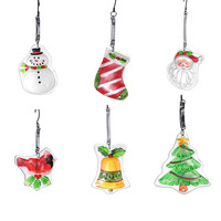 6PCS Glass Hanging Christmas Bell Snowman Tree SocksPendants ChristmasTree Decorations Christmas Ornaments XMAS Tree Decoration