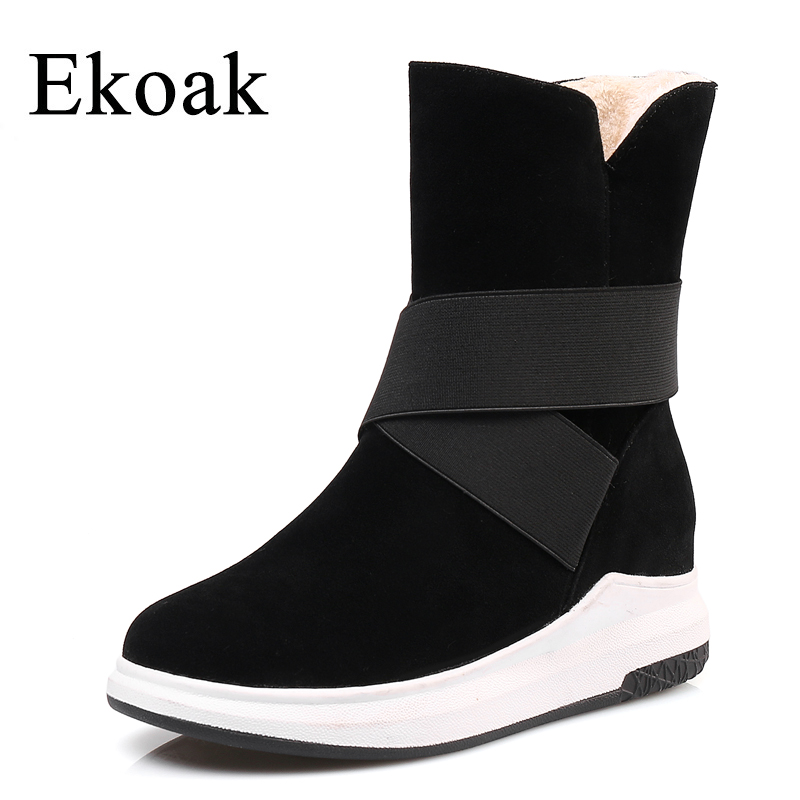 Ekoak New Women Snow Boots Fashion Winter Boots Warm Plush Ankle Boots Ladies Platform Shoes Woman Flock Rubber Boots ekoak new 2017 winter boots fashion women boots warm plush mid calf boots ladies platform shoes woman rubber leather snow boots
