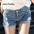 Vintage Ripped Women Jean Shorts 2016 Europe Summer Fashion Blue Denim Low Waisted Shorts Plus Size Beach Women Shorts 3508