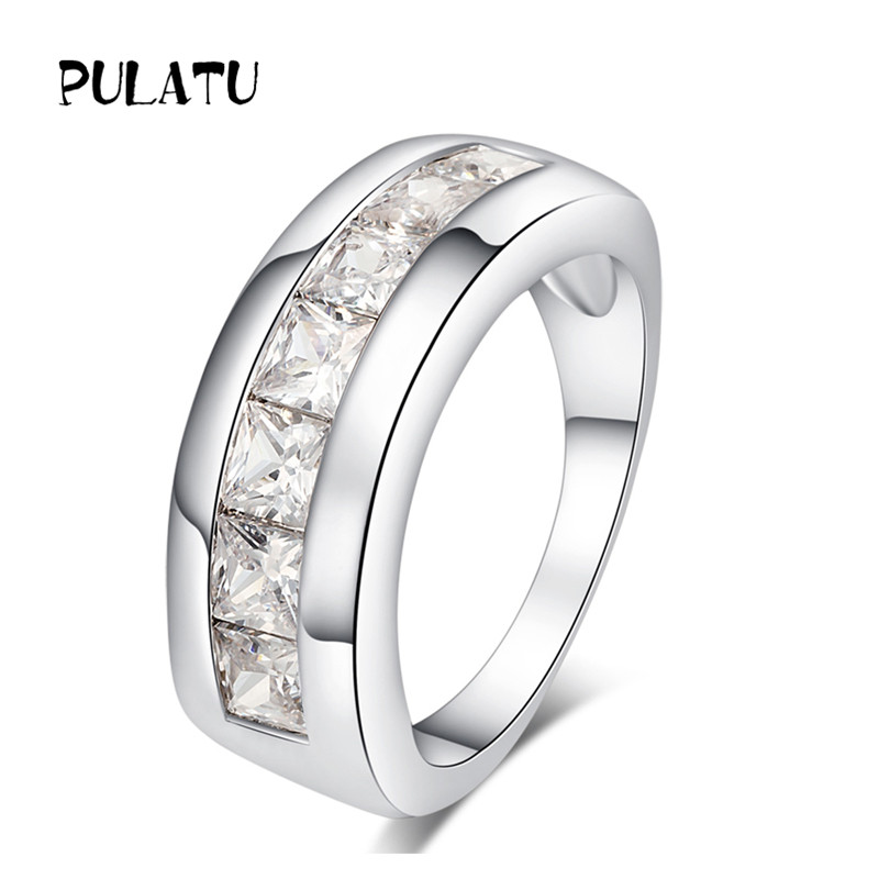PULATU Classic Men Ring With White Color CZ Stone Fashion Engagement Ring for Women Wedding Jewelry JZ0472
