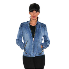 Здесь можно купить  European style women pure cotton denim jacket locomotive model all match fashion sexy more zippers stand collar elastic coat H67