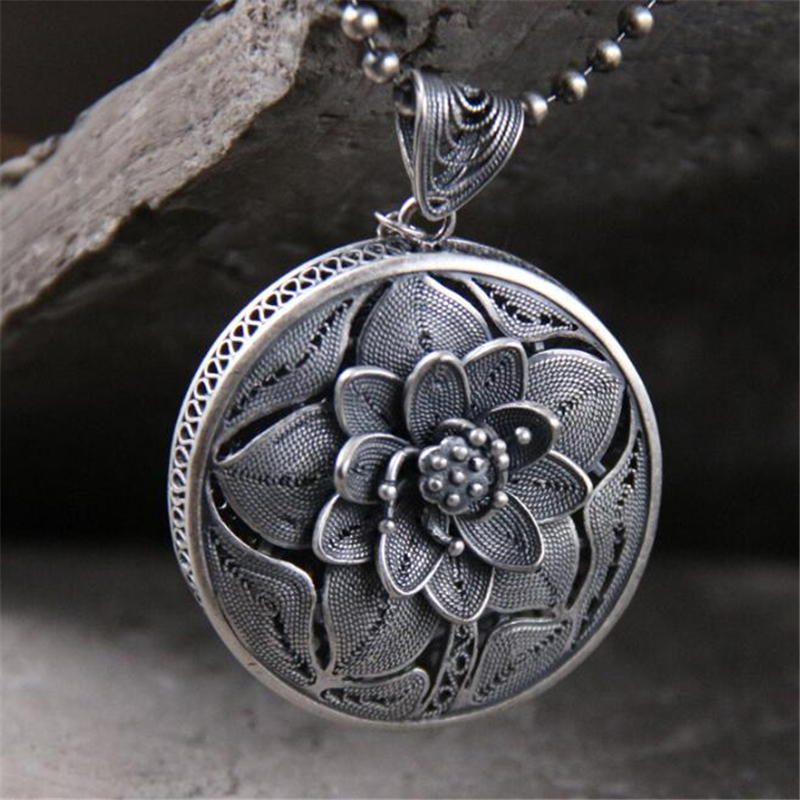 Haute qualité Original 999 en argent Sterling rond sculpté fleur colliers et pendentifs mode femmes bijoux cadeau de fête des mères