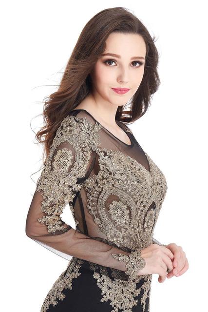 Robe de Soiree Longue Real Kaftan Dubai Black Long Sleeve Mermaid Evening Dresses 2016 Formal Evening Gowns China Vestido Longo