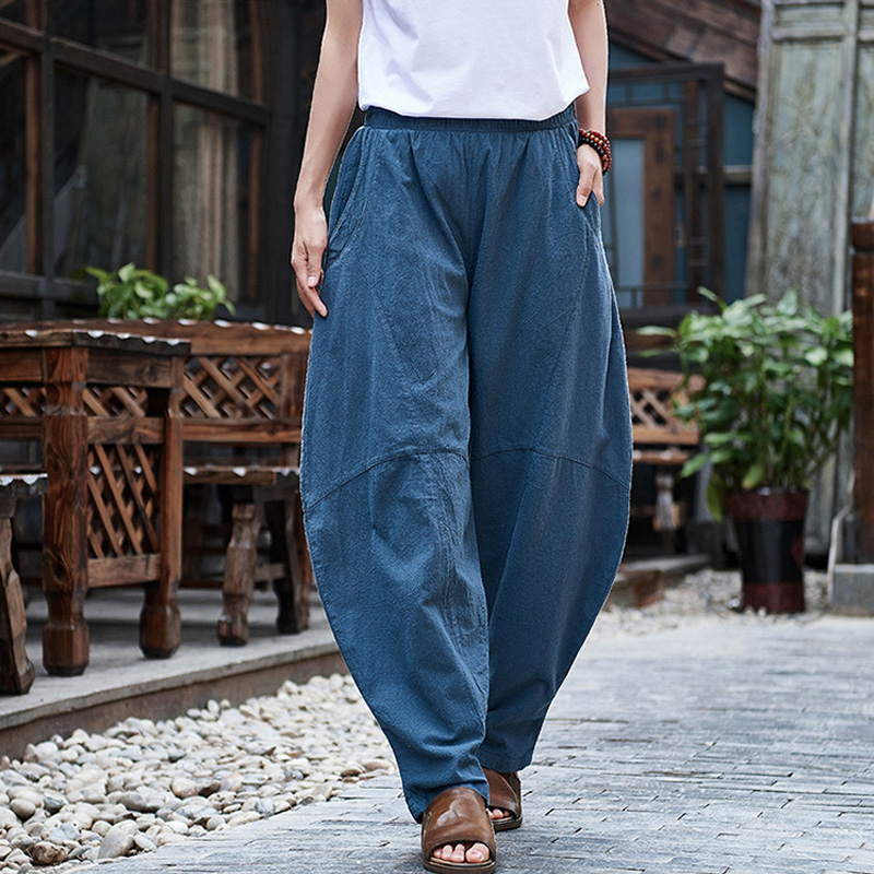 Cotton Linen Pants For Women Vintage Trouser Elastic Waist Spring New Pockets Patchwork Women Casual Harem Pants