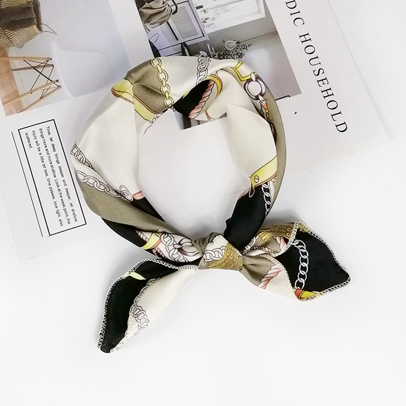 HTB10VgqeG1s3KVjSZFAq6x ZXXau - new style Square Scarf Hair Tie Band For Business Party Women Elegant Small Vintage Skinny Retro Head Neck Silk Satin Scarf