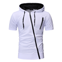 Hooded mens T-shirt spring and autumn new long-sleeved streetwear casual slim cotton shirt