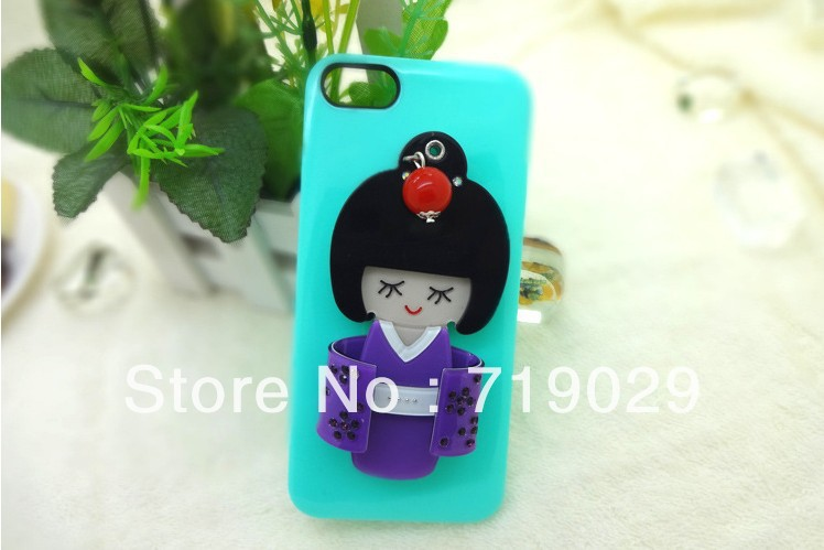 For Iphone Mobile Phone Accessories Hot New Fashion Cartoon Adorable Japanese Kimono Girls Mirror Surface Free Shipping