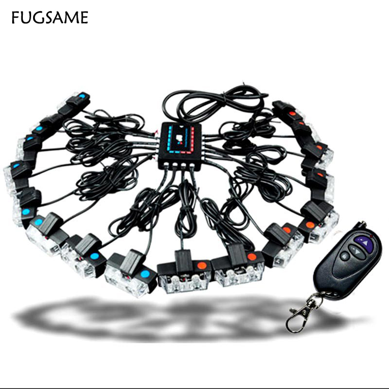 FUGSAME Wireless 32W power Auto Emergency Warning Car driving LED Lamp daytime running caution light DRL Red blue strobe flash 4in1 daytime running light 12v 12w led car emergency strobe lights drl wireless remote control kit car accessories universal