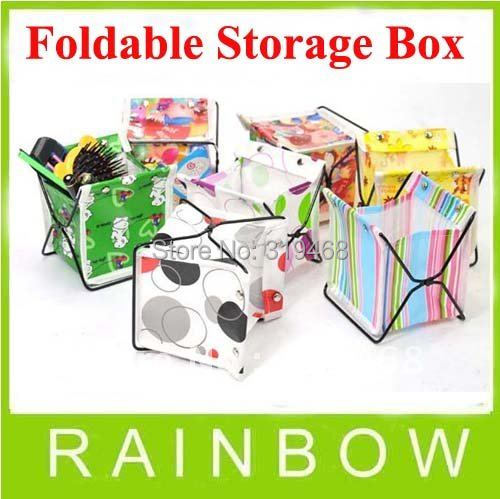 100pcs/lot RA Mini Fabric Folding Home Table Stand Organizer Foldable Container Storage Box Bag Case Free Shipping