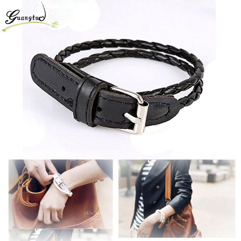 Fashion PU Leather Braid Belt Charm Bracelets For Women Men Jewelry Pulseira Feminina Cheap Statement Bracelet Gothic Style