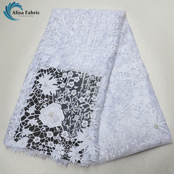 White French lace fabric Tulle lace with Beads and Stone Africa lace fabric Embroidered high quality 5 Yards For Nigerian Party