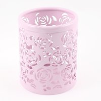 10pack Lovely Light Pink Hollow Rose Flower Pattern Metal Pen Pencil Holder Stationery Organizer