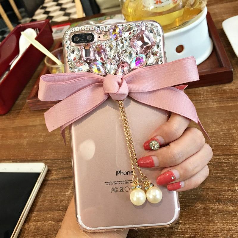For Huawei mate 9 10 lite pro Nova 2 plus 3i Glitter women Summer  Rhinestone cute bow pearl Phone case soft TPU back cover-in Rhinestone Cases  from ... c1595b0c871a