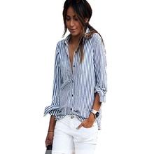 Blusas de Mujeres de verano de 2018 mujeres casual suelto rayas verticales  blusa de manga larga camisa blusa femenina Vestido pl. d9d6c141c44