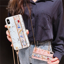 glitter gold foil shoulder chain strap tpu case for iphone 7 8 6 6s plus X XR XS MAX cover fashion bling clear phone bag
