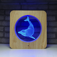 Novelty Dolphin 3D LED USB Desk Lamp Wood Grain 7 Color Change Touch Switch 3D Night Light Animal Table Light As Gift