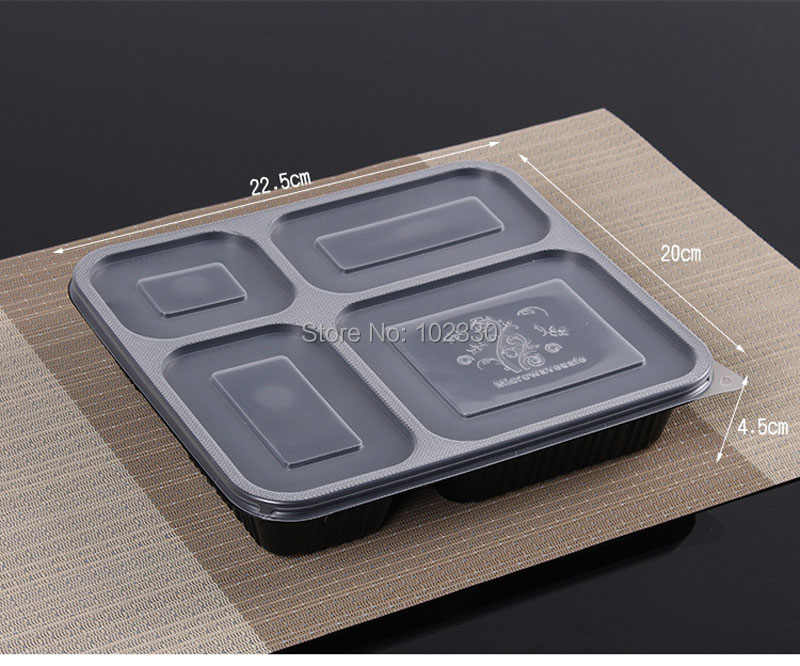 200Sets Black Clear Rectangular Disposable Food Container Lunch Bento Box  Snack Packing Boxes Microwave Safe Plastic PP