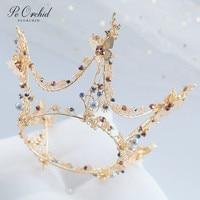 PEORCHID Baroque Round Tiaras And Crowns Bridal Coroa De Noiva Dourada 18 Birthday Crown Gothic Headpiece Wedding Head Jewelry