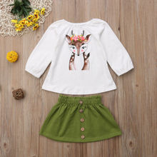 2 Pieces Toddler Kids Outfits Baby Girl Clothes Set Printed Xmas Deer Pattern T Shirt +Skirts Little Girls Clothing Sets