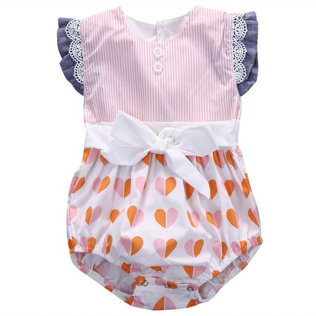 e6e06db8ec0 Summer Lace heart Romper baby clothing Newborn Toddler Kids Girls  sleeveless bow back Romper Jumpsuit Outfits