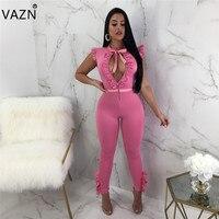VAZN 2018 New Women Hot Fashion Bodycon Jumpsuit Short Sleeve Summer Jumpsuit Black Pink Club Wear B9088