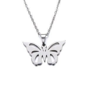 Ожерелье из нержавеющей стали DOTIFI для женщин и мужчин, ожерелье с подвеской-бабочкой золотистого и серебристого цвета, Помолвочные украшен...