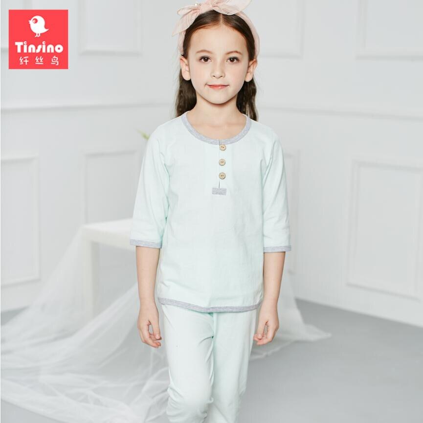 Tinsino Girls Solid Color Summer Pajama Sets Girl's Autumn Pajamas Children Girl Sleepwear Home Clothes Kids Clothing Set