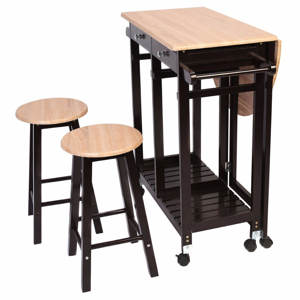 Living Room Table With Stools: Giantex 3PC Wood Kitchen Rolling Cart Set Dinning Drop